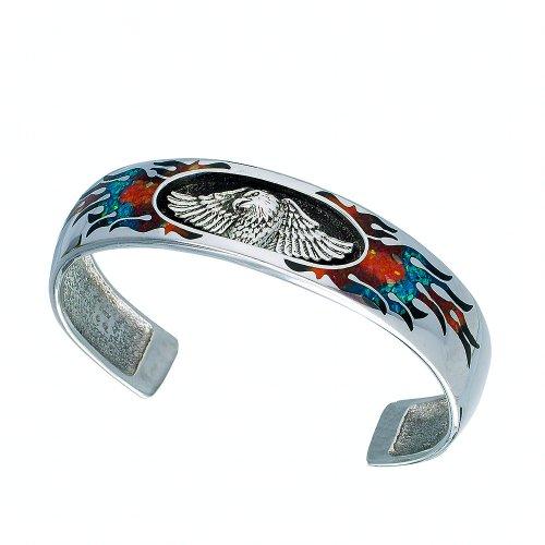 Indianerschmuck Armreif Multicolor Türkis Koralle Chip Inlay 925 Sterling Silber