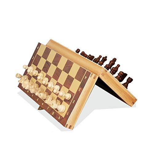 GUOQING Schach-Set Klappmagnetisches Großes Brett Mit 34 Schachfiguren Innenbrett Spielset Schach Schachspiel (Color : 39 39cm)