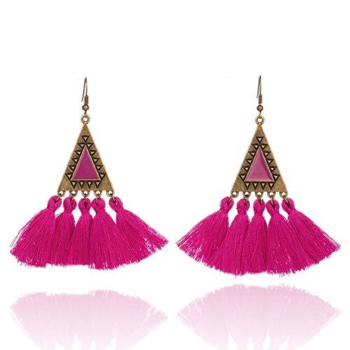 Arete Cruzvintage Boho Bohemio Triángulo Cuelga Los Pendientes De La Borla De La Gota Para Las Mujeres Femeninas Pendientes Étnicos De La Boda Accesorios De La JoyeríaBarbie Pink