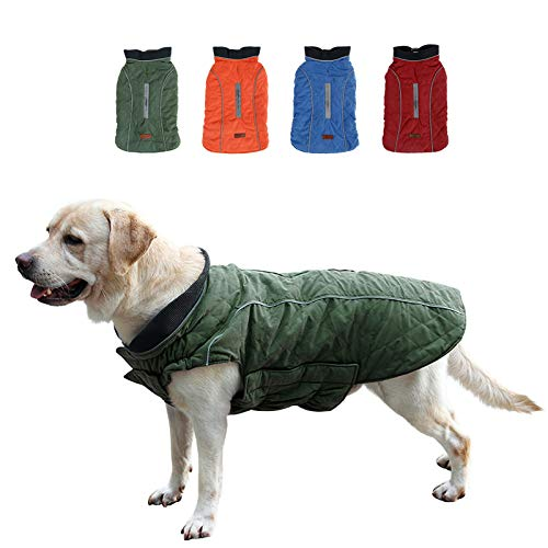 KOESON Windproof Dog Cold Weather Coat, Reflective Pet Winter Thick Warm Outdoor Jacket with Harness...