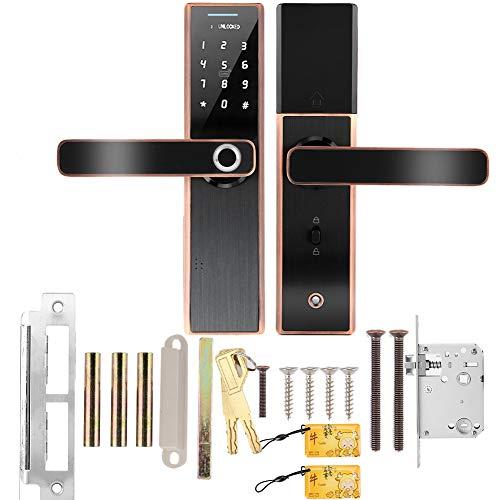 Acogedor Intelligentes Türschloss, Fingerabdruck-Türschloss, Fingerabdruck-Entriegelung, IC-Karte, Passwort, mechanischer Schlüssel, USB-Notstromversorgung(Rote Bronze)