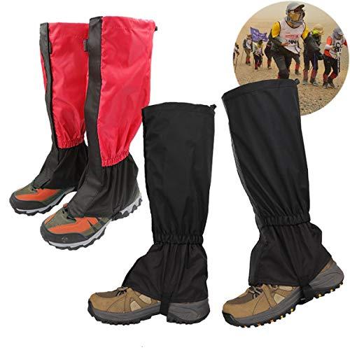 Gamaschen Wasserdicht,2 Paar Gamaschen Atmungsaktiv Wandergamaschen for Outdoor Wandern KletternTrekking(schwarz und rot)