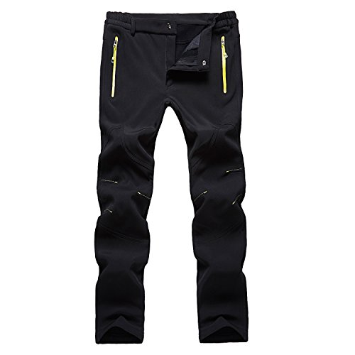 Freie Liebe Men's Outdoor Waterproof Soft Shell Fleece Thicken Hiking Mountain Pants Slim Fit,Black,X-Large(waist 31.4