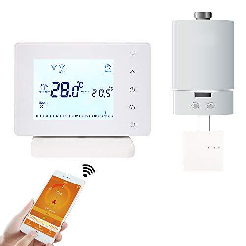 Beok Upgrade BOT306RF-WIFI Termostato Habitación Programable RF Inalámbrico con Pantalla Táctil LCD Grande para Caldera de Gas Funciona con Google Assistant y Amazon Alexa, Alimentado por AC 200-240V