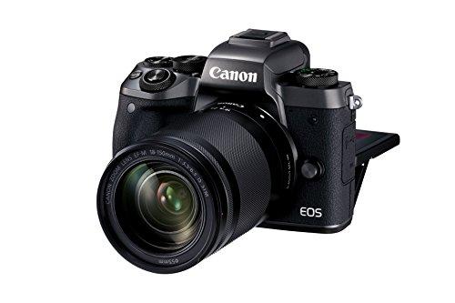 """Canon EOS M5 - Cámara sin Espejo compacta de 24,2 MP (Pantalla táctil de 3,2"""", procesamiento DIGIC, 7 fps, Bluetooth, WiFi, NFC), Negro - Kit con Cuerpo, Objetivo EF-M 18-150mm y Adaptador EF"""