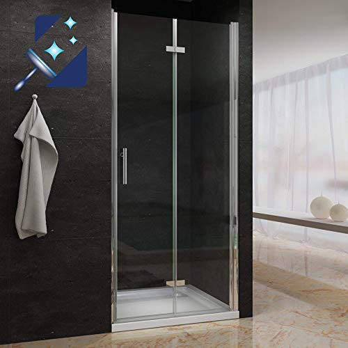 AQUABATOS® 90 cm Verstellbereich von 89,5-93 cm Rahmenlos Faltbare Duschtür Nischentür Dusche Duschabtrennung Drehfalttür Falttür 6 mm ESG Sicherheitsglas mit NANO Beschichtung höhe 195 cm