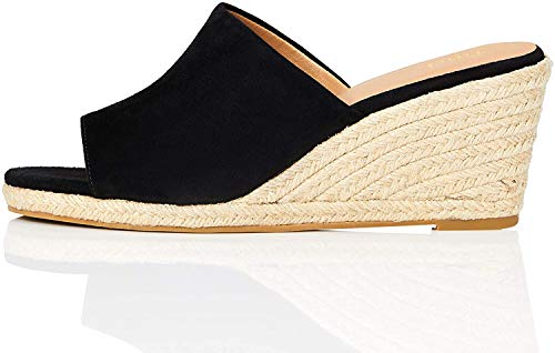 Amazon-Marke: find. Mule Wedge Leather Espadrilles, Schwarz (Black), 40 EU