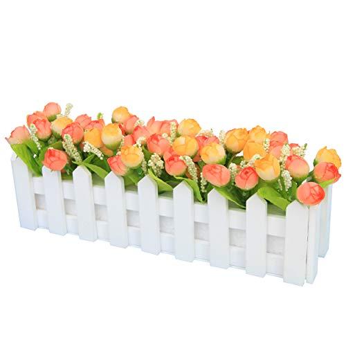 Flikool Artificielle Topiaire Pot Plantes Potted Plant Faux Artificiel Fleur Roses Truque Bonsai l'herbe Verte avec Cloture Decoration Ornements Maison Mariage Terrasse Jardin Deco - Orange