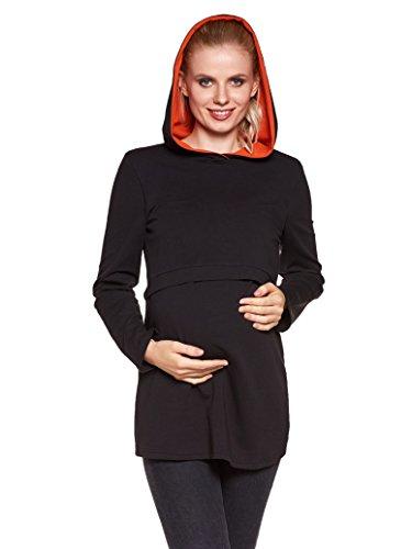 Be! Mama - 2in1 Umstandspullover, Sweatshirt mit Kapuze, Still-Pulli, Modell: Duo, schwarz-orange, Größe L