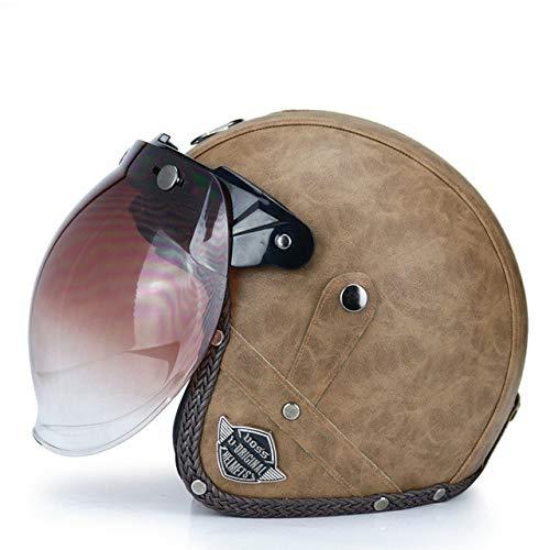 MYSdd Vintage Cabrio Motorradhelm PU Leder 3/4 Open Helm mit Brille Maske Abnehmbarer Krempe Quick Buckle abnehmbare Futter - 8b XL