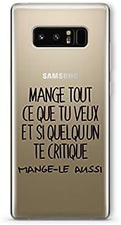 ZOKKO Case for Samsung Note 8 Mange Tout Que tu Veux Transparent Soft Black Ink
