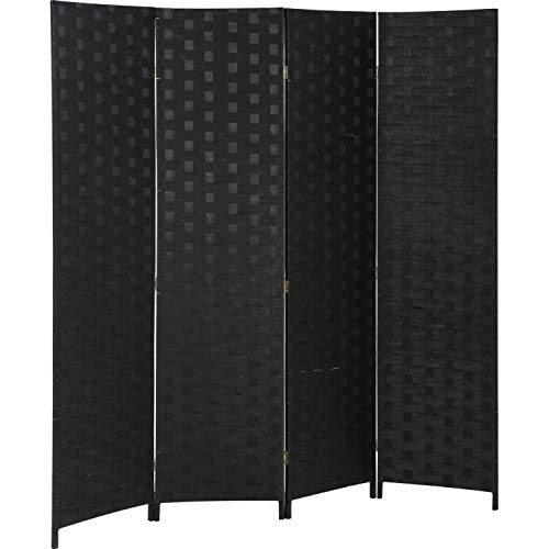 FDW Room Divider 6FT Wall Divider Wood Screen 4 Panels Wood Mesh Hand-Woven Design Room Screen Divider Indoor Folding Portable Partition Screen,Black