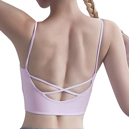 Vertvie Sporttop voor dames, sterke houvast, push-upbeha, borsten, ademend, lichtgewicht, zacht ondergoed, loop, fitness, training zonder beugel