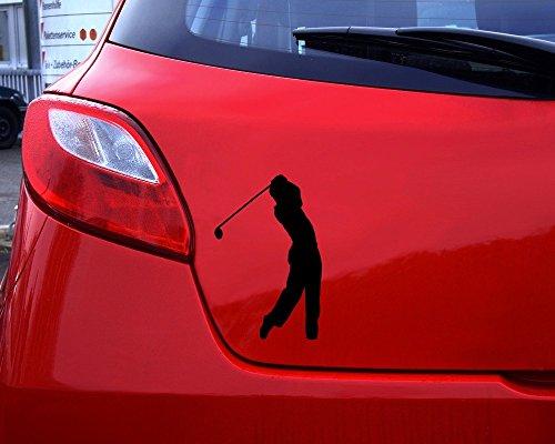 Samunshi® Autoaufkleber Golfspieler Aufkleber in 7 Größen und 25 Farben (10x6,5cm silbermetalleffekt) - 5
