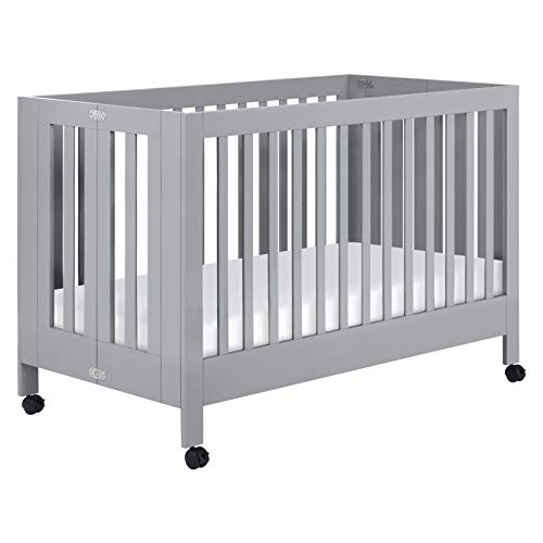Babyletto Maki Full-Size Portable Folding Crib with Toddler Bed Conversion Kit in Grey, Greenguard Gold Certified