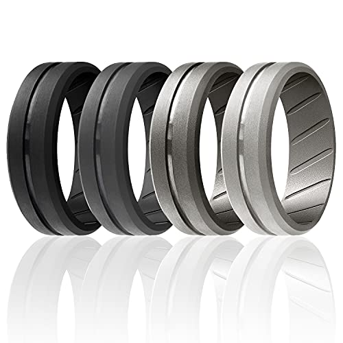 ROQ Silicone Rings, Breathable Silicone Rubber Wedding Ring Band for Men with Comfort-Fit Design, 8mm Engraved Middle Line, 4 Pack, Silicone Wedding Ring - Black, Grey, Silver Colors - Size 9