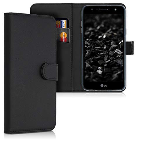 kwmobile LG X Power 3 Hülle - Kunstleder Wallet Case für LG X Power 3 mit Kartenfächern & Stand - Schwarz
