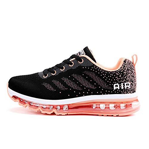 KOUDYEN Chaussures de Sport Course Homme Femme Basket Lacets Fitness Confortable Sneakers Trail Running Shoes,XZ746-W-blackwhite-EU38