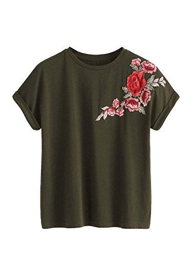 ROMWE Damen T-Shirt mit Rosen-Stickerein Locker Kurzarm Shirt Armee Grün S
