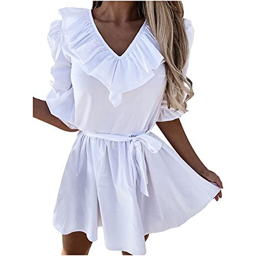 AMhomely Vestido de verano para mujer Venta Liquidación,Vestido de princesa elegante con impresión de color sólido fuera del hombro Mini vestido de princesa Reino Unido