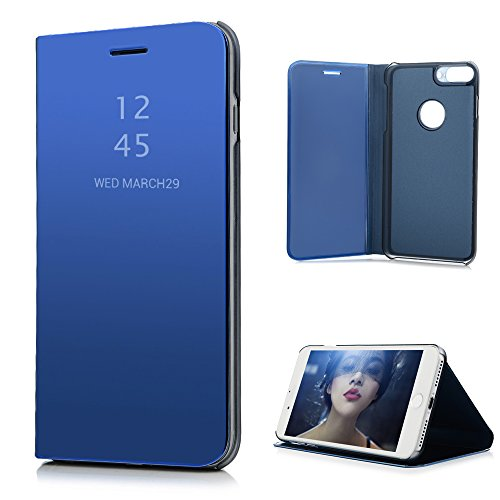 Badalink iPhone 8 Plus Case, iPhone 7 Plus Cover Luxury Electroplate Flip Translucent Front Protective Skin Bumper Kickstand PU Leather Back Shell Hard Inner Case for iPhone 7+ / 8+ - Blue