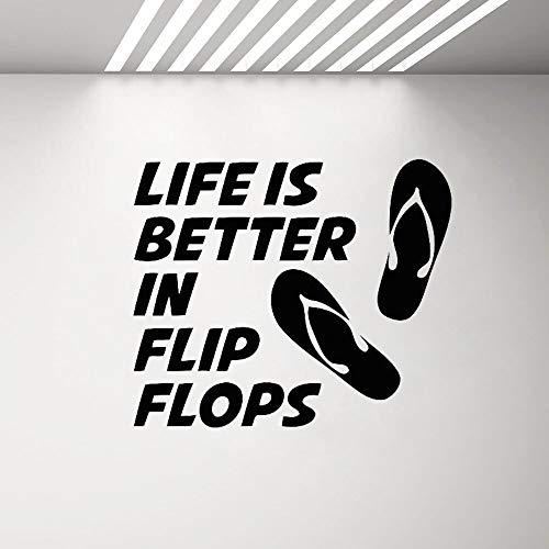 Yaonuli La Vita der Flip-Flops zal beter zijn wandsticker wandsticker strand sticker van vinyl strand zee oceaan decoratie zwembad