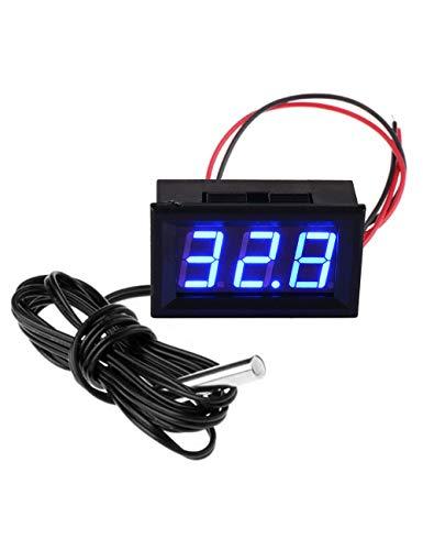 FBBULES Termómetro Digital de 12V con Sonda Medidor LED de Temperatura Monitor para Congelador Refrigerador Pecera de Acuario,Azul