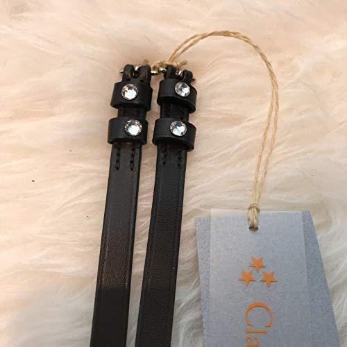 Döbert Sporenriemen Leder, 2 Dia Steine crystal schwarz