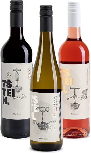 7STEIN Probierpaket Sonnenuntergang – 1 Weißwein, 1 Roséwein und 1 Rotwein – 3 erstklassige Weine für genussvolle Abendstunden 2019 trocken (3 x 0.75 l)