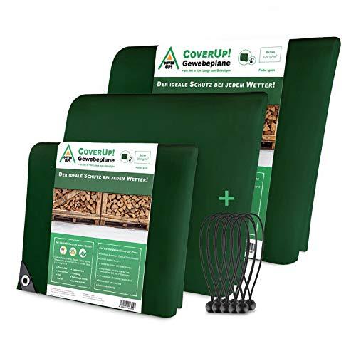 CoverUp! Lona Impermeable Exterior 4 x 4 m [200 g/m2] + 12 Bolas Bungee - Lona de protección con Ojales para Muebles de jardín, Piscina, Coche, Lona de protección Impermeable y Resistente a la Rotura