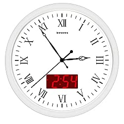 KWANWA Metal Quartz LED Wall Clock Battery Operated with 1.34'' Digital Time or Temperature Display Non Ticking Silent Quiet Sweep Second Hand (White, 12 Roman Numerals)
