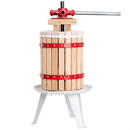 ECO-WORTHY 1.6 Gallon Fruit Wine Press Cider Apple Grape Crusher Juice Maker Tool Wood
