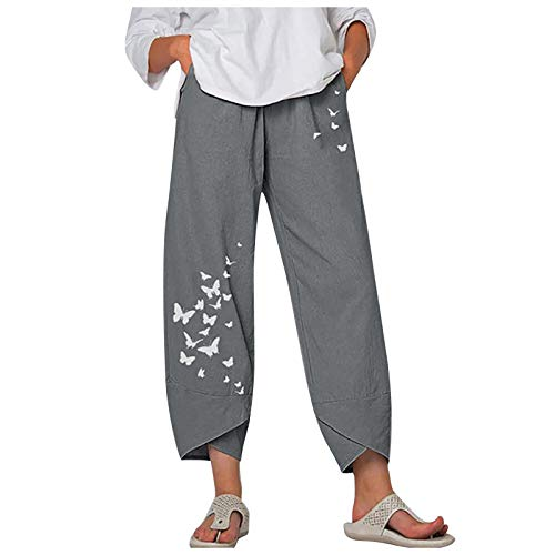 Maryia Womens Capri Pants for Summer Beach Casual Harem Comfy Palazzo Pajama Yoga Workout Fitness Print Cropped Trouser Gray