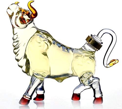 1000~2500 ml Whisky Animal Decanter Bull Modeling - Alto Vidrio de borosilicato para Licor Scotch Vodka o Vino 1500ml HMLIFE (Size : 1500ml)