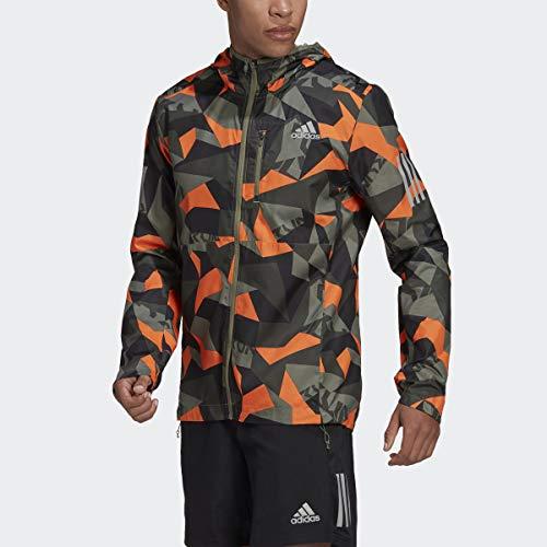 adidas Men's Standard Own The Run Hooded Jacket, Legacy Green/Signal Orange/Black, Medium