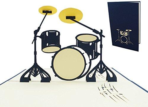 LIN17528, POP - UP Karten Musik, POP Up Karten Musikal Geburtstag, 3D Grußkarten Geburtstagskarte Gutschein Schlagzeug, Drumset, Drum Kit, Drums, N282