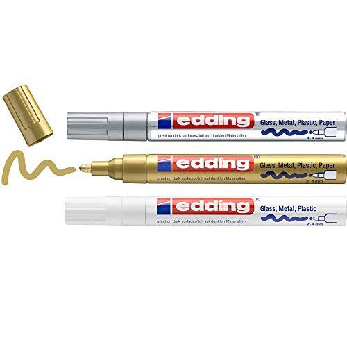 Edding750 marcador de tinta opaca brillante - blanco, oro, plata (metálico) - 3 rotuladores - punta redonda 2-4 mm - para vidrio, piedras, madera, plástico, papel - color permanente