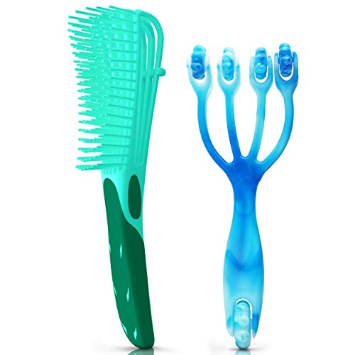 2 Piece Detangling Brush & Scalp Massager To Stimulate Thick Natural Hair Growth Detangler To Detangle For Wet Curly Tangle Teezer Hairbrush Best For 3a-4c Ez Kids & Adult Wetbrush Teaser comb