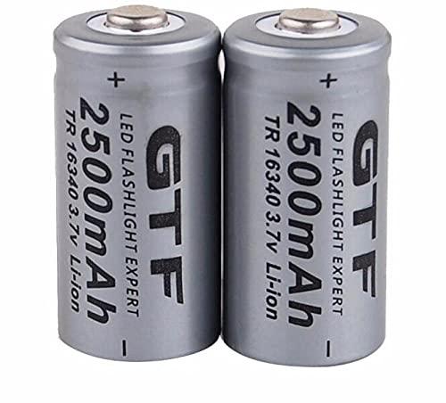 Baterías Recargables 3.7V 2500Mah Batería de Litio 16340Cr123A Carga para lápiz láser Linterna LED-2 Piezas para Linterna Radio Lámpara Antorcha para Ciclismo Senderismo Camping Emergencia