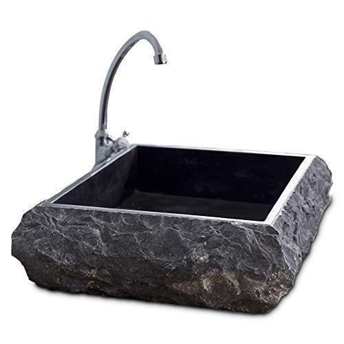 Bacino singolo, lavabo in marmo naturale con lavabo in massello di marmo massiccio, lavello da appoggio grigio rustico strutturato - Larghezza 50 cm, Diametro 40 cm, Altezza 13 cm, Peso 38 kg - Cemlux