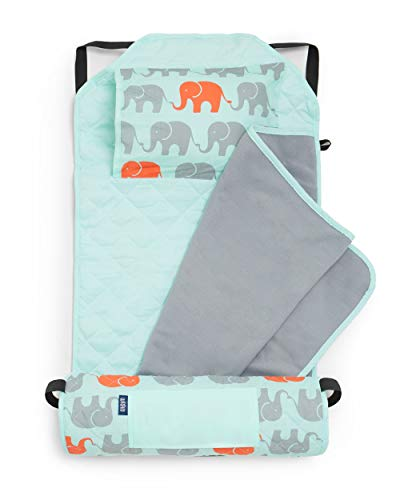 Wildkin Kids Modern Nap Mat with Pillow for Toddler Boys & Girls, Ideal for Daycare & Preschool, Features Elastic Corner Straps, Cotton Blend Materials Nap Mat for Kids, BPA-free (Elephants)