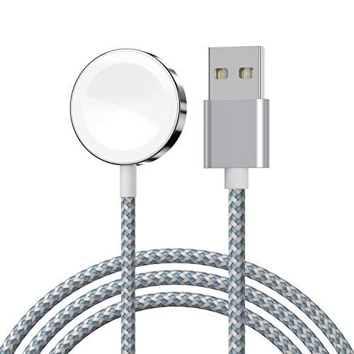 Cargador iWatch, XUAMZ Cable de carga inalámbrico rápido portátil Cable trenzado de nailon magnético compatible con iWatch 6/SE /5/4/3/2/1 Series 38 mm 40 mm 42 mm 44 mm 3,3 pies