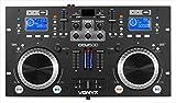 Mesa de mezclas controladora DJ Vonyx CDJ500 (con amplificador integrado de 2 x 100 W, 90 dB, 20-20000 Hz, RCA, 115-240 V)
