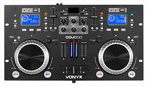 Mesa de mezclas controladora DJ Vonyx CDJ500 (con amplificador integrado de 2 x 100 W, 90 dB, 20-20000 Hz, RCA, 115-240 V) ✅