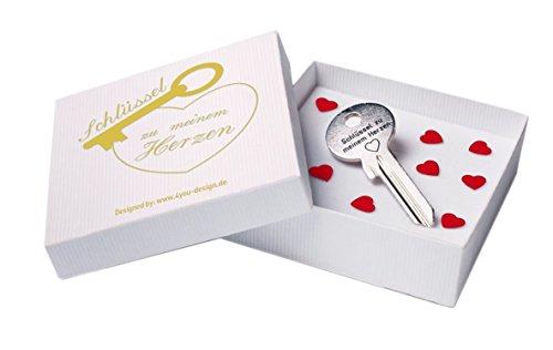 4you Design Schlüssel zu Meinem Herzen mit weißer Geschenkbox - Geschenk für Frau Romantisches Geschenk zum Valentinstag Geburtstag Geschenkidee