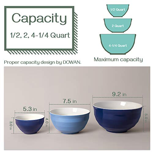 DOWAN Ceramic Mixing Bowls, Serving Bowl Set, Salad Bowl Set, Nested Bowl Set, Microwave Safe, 4.25 Qt 2 Qt 0.5 Qt, Blue