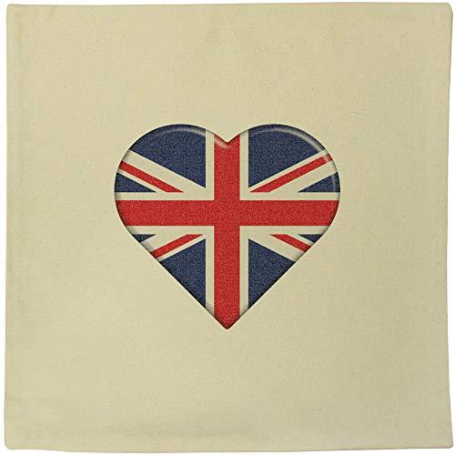 Azeeda 40cm x 40cm 'United Kingdom Heart' Canvas Cushion Cover (CV00000525)