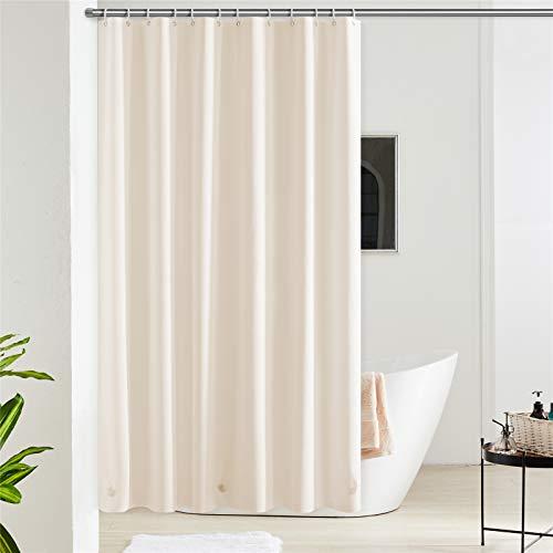 Furlinic 180x180 Duschvorhang Anti-schimmel in Badezimmer Vorhang für Badewanne Dusche aus Eva Wasserdicht Beige mit 12 Duschvorhangringe.