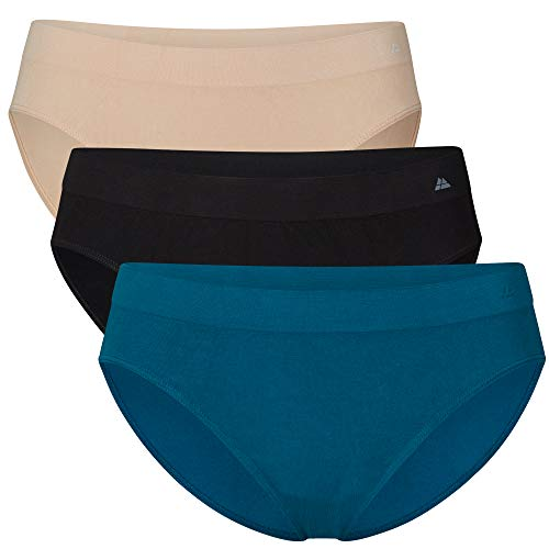 Bamboo Seamless Bikini Panties for Women, 3 Pack, Black, Nude, Blue (Multicolor (1 x Black, 1 x Nude Beige, 1 x Blue), Medium/Large)