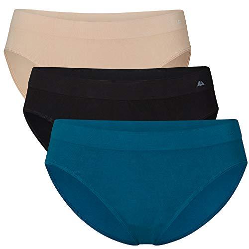 DANISH ENDURANCE Braguitas de Bambù para Mujer Pack de 3 (Multicolor (1 x Negro, 1 x Beige, 1 x Azul), Medium/Large)